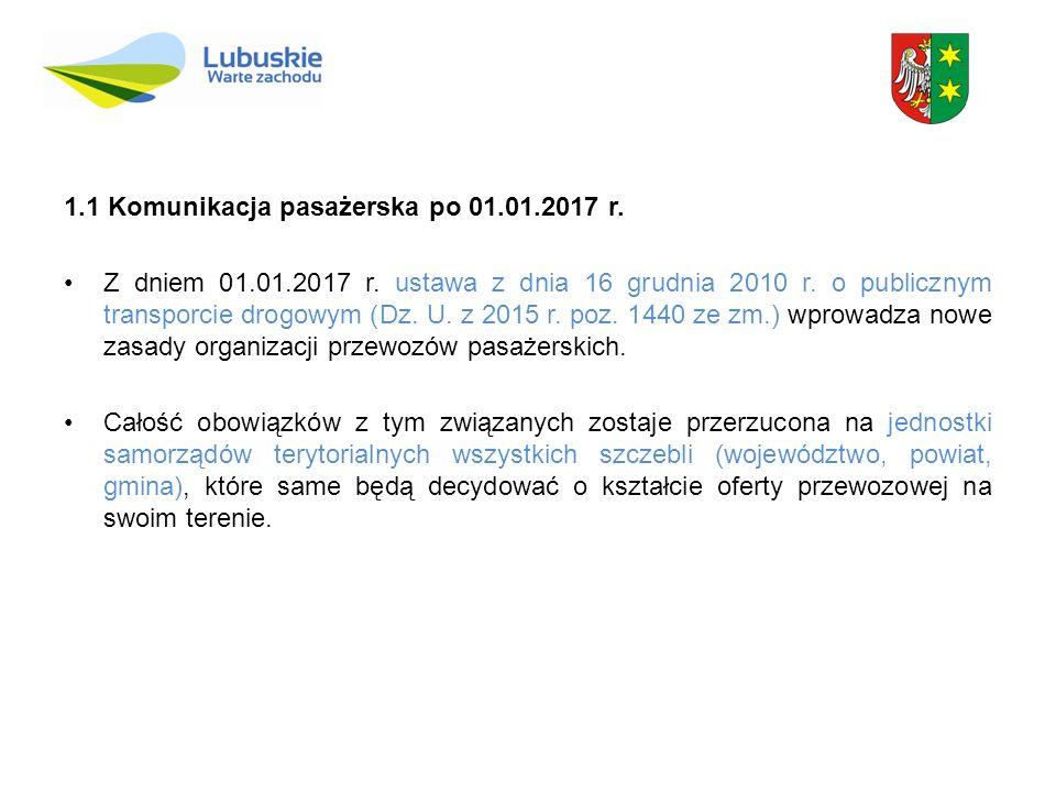 1.1 Komunikacja pasażerska po 01.01.2017 r. Z dniem 01.01.2017 r. ustawa z dnia 16 grudnia 2010 r. o publicznym transporcie drogowym (Dz. U. z 2015 r.