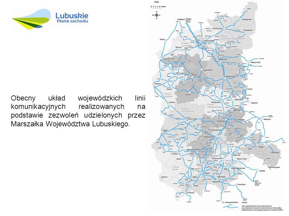 Obecny układ wojewódzkich linii komunikacyjnych realizowanych na podstawie zezwoleń udzielonych przez Marszałka Województwa Lubuskiego.