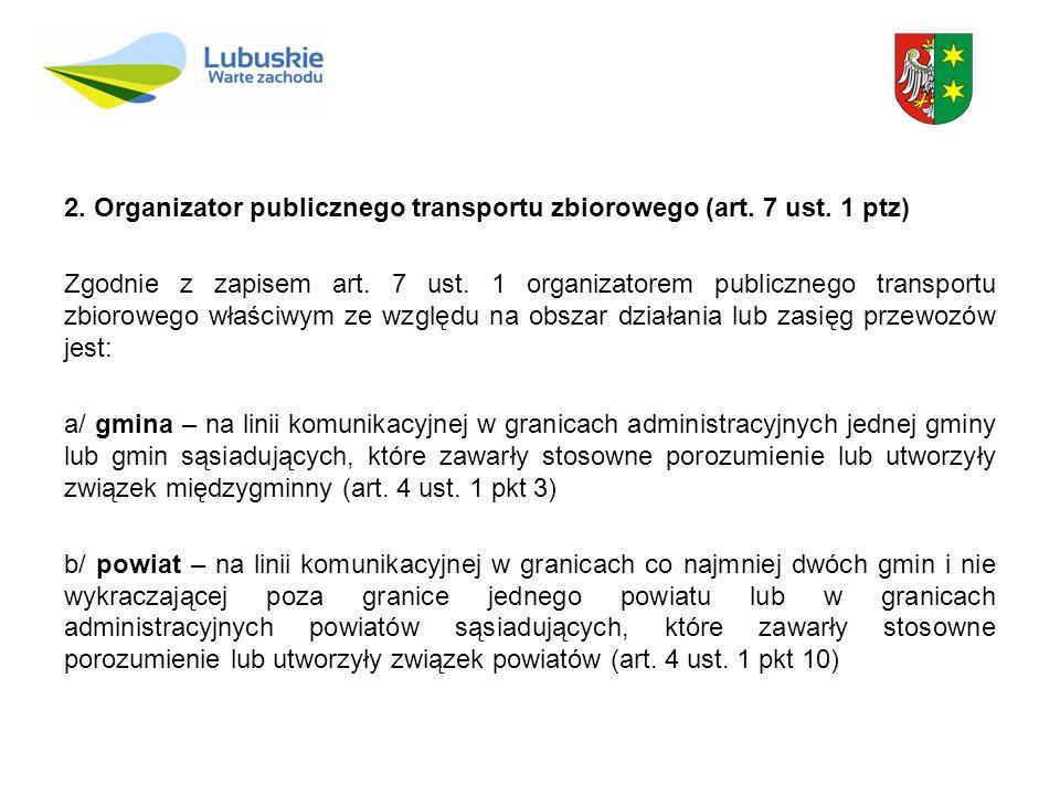 2. Organizator publicznego transportu zbiorowego (art. 7 ust. 1 ptz) Zgodnie z zapisem art. 7 ust. 1 organizatorem publicznego transportu zbiorowego w