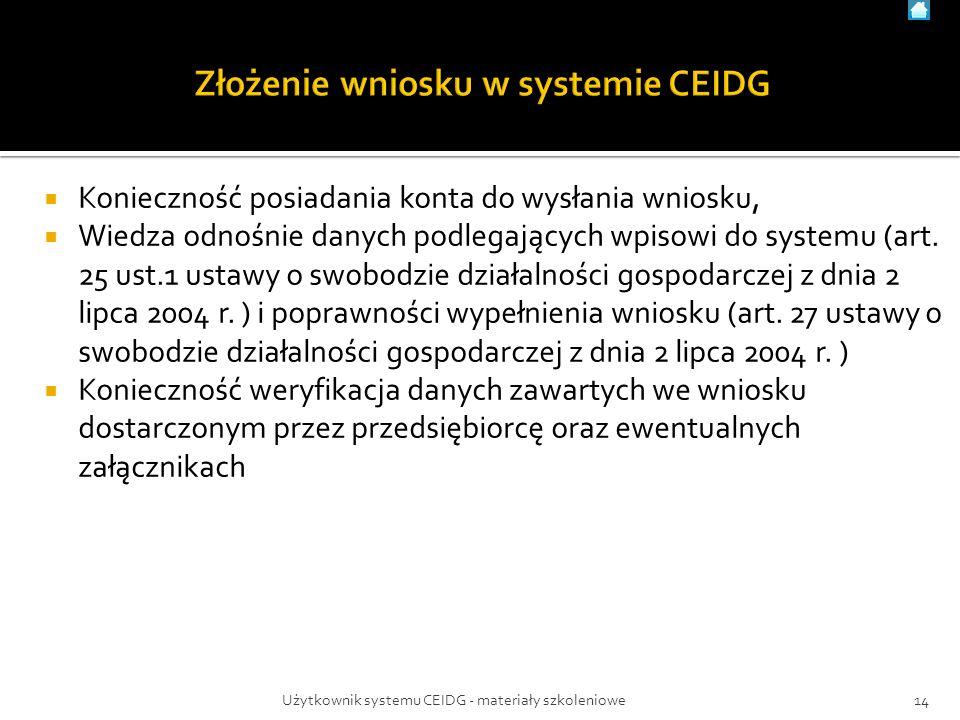  Konieczność posiadania konta do wysłania wniosku,  Wiedza odnośnie danych podlegających wpisowi do systemu (art.
