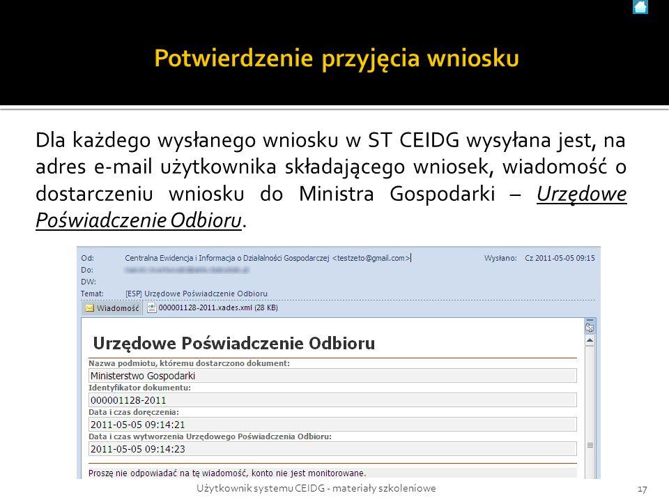 Dla każdego wysłanego wniosku w ST CEIDG wysyłana jest, na adres e-mail użytkownika składającego wniosek, wiadomość o dostarczeniu wniosku do Ministra Gospodarki – Urzędowe Poświadczenie Odbioru.