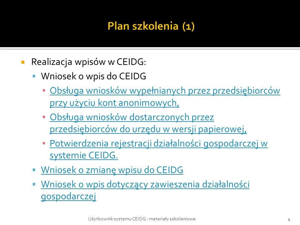  Realizacja wpisów w CEIDG:  Wniosek o wpis do CEIDG ▪ Obsługa wniosków wypełnianych przez przedsiębiorców przy użyciu kont anonimowych, Obsługa wniosków wypełnianych przez przedsiębiorców przy użyciu kont anonimowych, ▪ Obsługa wniosków dostarczonych przez przedsiębiorców do urzędu w wersji papierowej, Obsługa wniosków dostarczonych przez przedsiębiorców do urzędu w wersji papierowej, ▪ Potwierdzenia rejestracji działalności gospodarczej w systemie CEIDG.