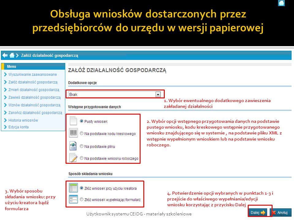 1. Wybór ewentualnego dodatkowego zawieszenia zakładanej działalności 2.