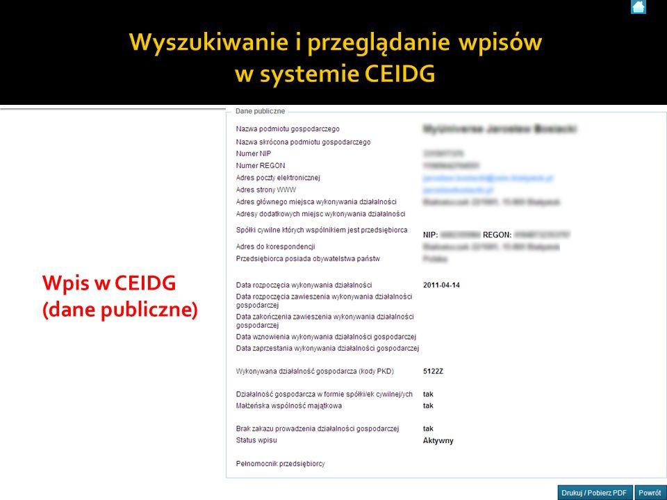 79 Wpis w CEIDG (dane publiczne)