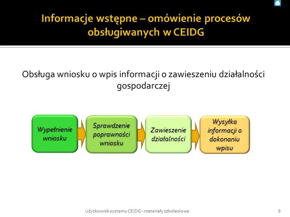 Obsługa wniosku o wpis informacji o zawieszeniu działalności gospodarczej Zawieszeniedziałalności Wysyłka informacji o dokonaniu wpisu 8Użytkownik systemu CEIDG - materiały szkoleniowe Wypełnienie wniosku Sprawdzenie poprawności wniosku