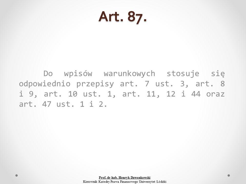 Art. 87. Do wpisów warunkowych stosuje się odpowiednio przepisy art.