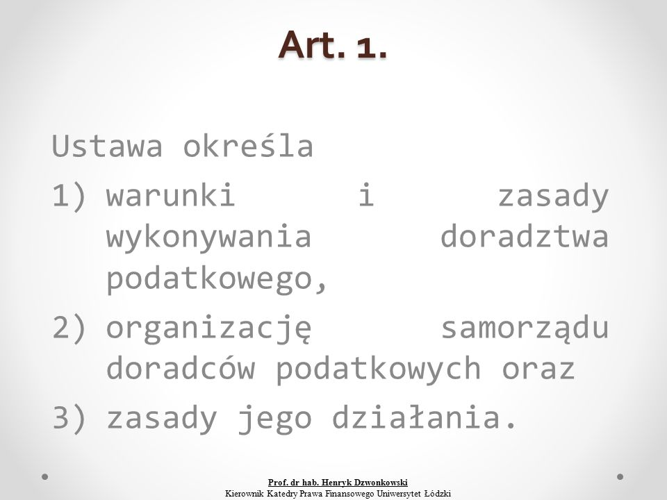 Art.22. 1. Egzamin na doradcę podatkowego przeprowadza Komisja Egzaminacyjna.