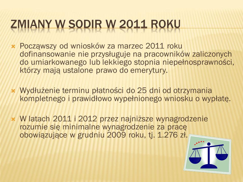  Począwszy od wniosków za marzec 2011 roku dofinansowanie nie przysługuje na pracowników zaliczonych do umiarkowanego lub lekkiego stopnia niepełnosprawności, którzy mają ustalone prawo do emerytury.