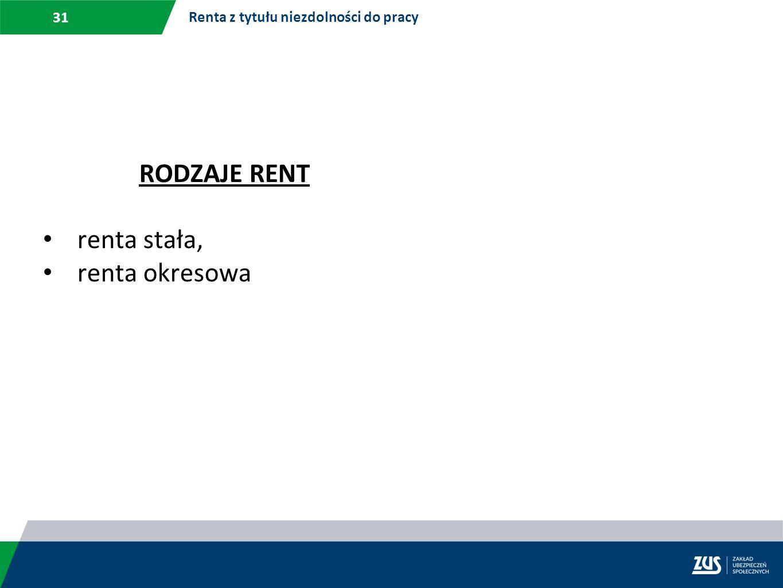 31 Renta z tytułu niezdolności do pracy RODZAJE RENT renta stała, renta okresowa