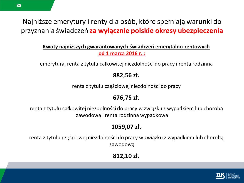 38 Najniższe emerytury i renty dla osób, które spełniają warunki do przyznania świadczeń za wyłącznie polskie okresy ubezpieczenia Kwoty najniższych g
