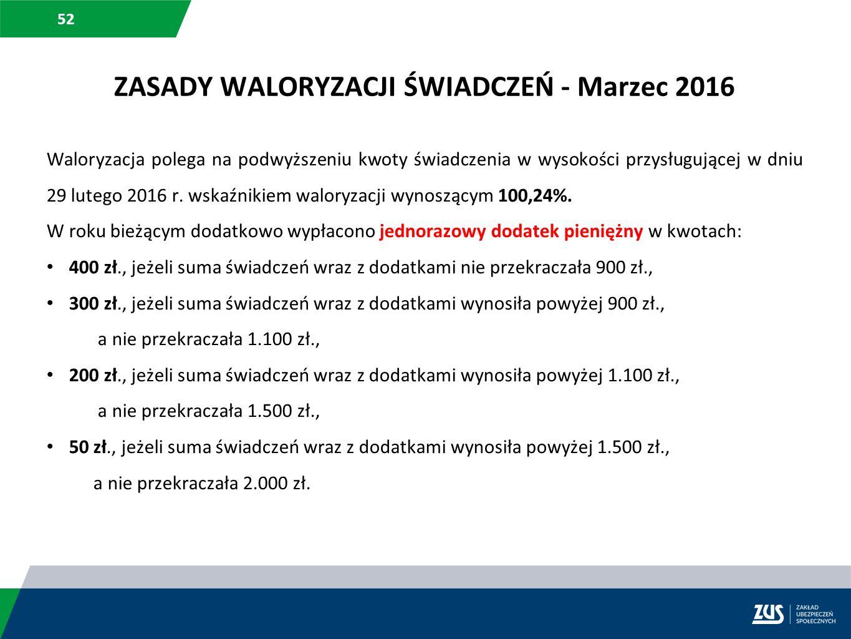 52 Waloryzacja polega na podwyższeniu kwoty świadczenia w wysokości przysługującej w dniu 29 lutego 2016 r. wskaźnikiem waloryzacji wynoszącym 100,24%