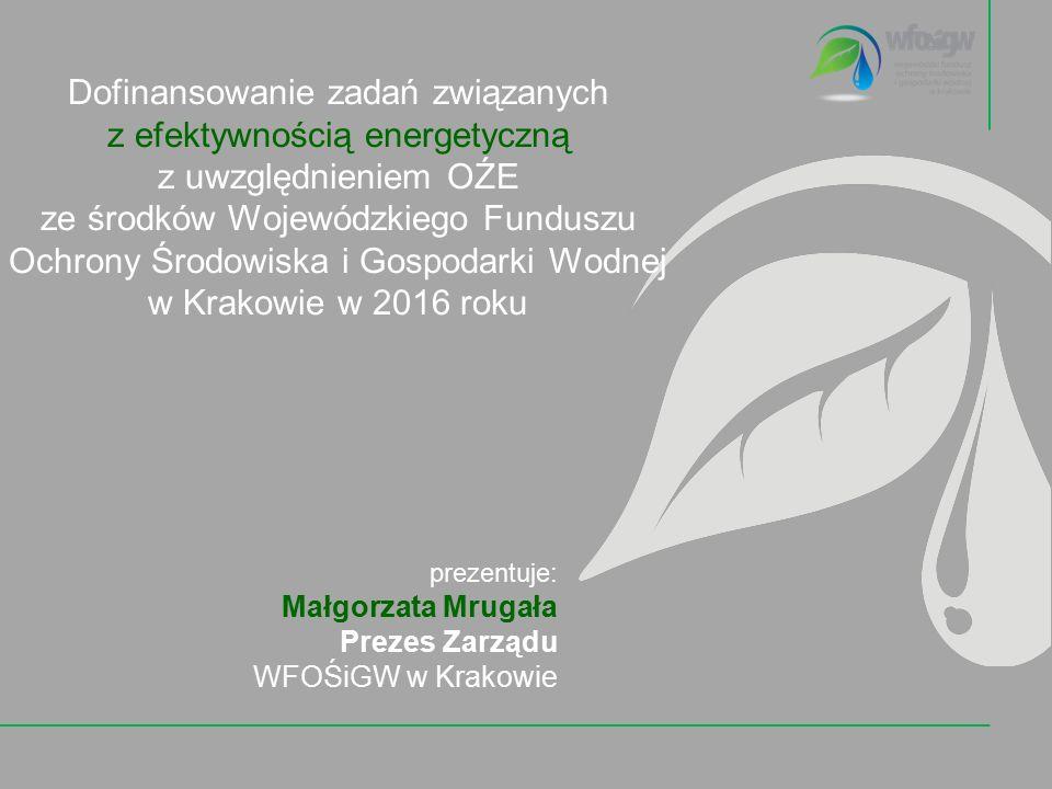 Dofinansowanie zadań związanych z efektywnością energetyczną z uwzględnieniem OŹE ze środków Wojewódzkiego Funduszu Ochrony Środowiska i Gospodarki Wodnej w Krakowie w 2016 roku prezentuje: Małgorzata Mrugała Prezes Zarządu WFOŚiGW w Krakowie
