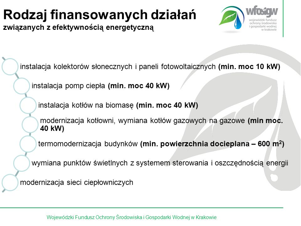 5 z 15 Pożyczki Pożyczki preferencyjne (do 100% kosztów kwalifikowanych netto) oprocentowanie: 0,6 stopy redyskonta weksli - nie mniej niż 3,6%/rok z możliwością umorzenia Pożyczki płatnicze (pomostowe) oprocentowanie: 0,6 stopy redyskonta weksli – nie mniej niż 3,6 %/rok bez możliwości umorzenia Dotacje (do 40% kosztów kwalifikowanych brutto ) Dopłaty do kapitału kredytów bankowych (do 50%) Dopłaty do oprocentowania kredytów bankowych (do 80%) dopłaty do rat lub innych opłat ustalanych w umowach leasingu Wojewódzki Fundusz Ochrony Środowiska i Gospodarki Wodnej w Krakowie Instrumenty finansowe
