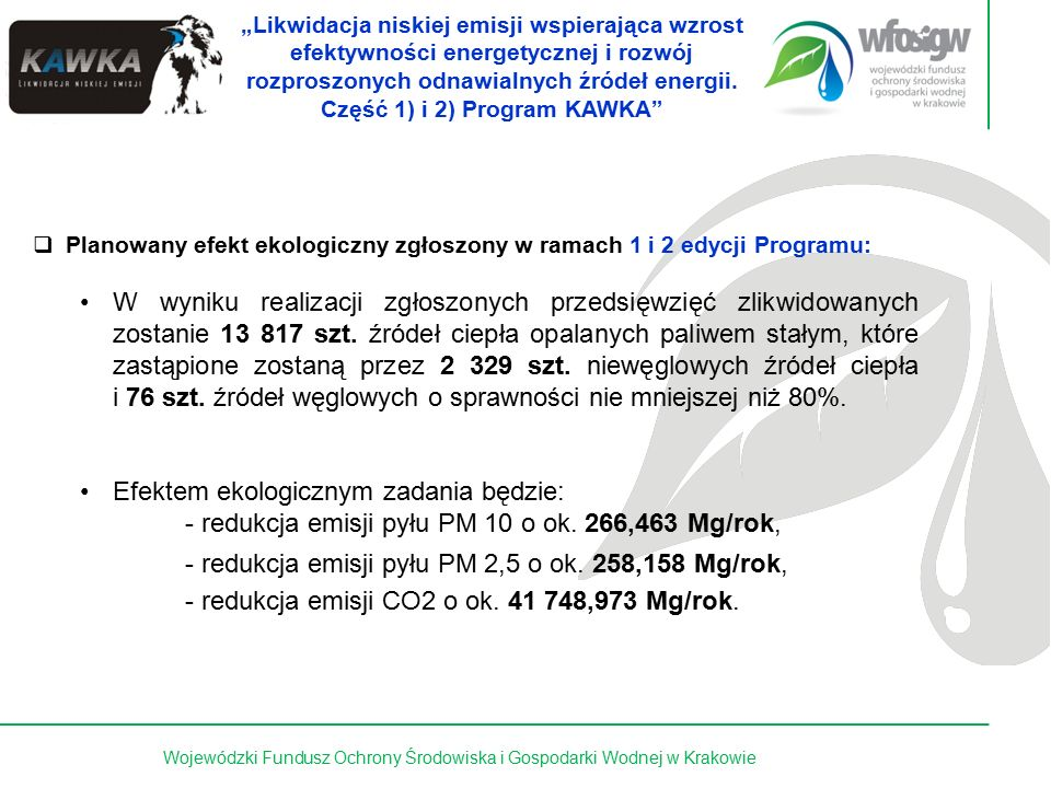 """9 z 15Wojewódzki Fundusz Ochrony Środowiska i Gospodarki Wodnej w Krakowie Program """"Poprawa jakości powietrza Część 2) KAWKA - Likwidacja niskiej emisji wspierająca wzrost efektywności energetycznej i rozwój rozproszonych odnawialnych źródeł energii  Planowany efekt ekologiczny zgłoszony w ramach 3 edycji Programu: W wyniku realizacji zgłoszonych przedsięwzięć zlikwidowanych zostanie ok."""