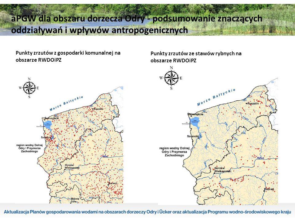 Punkty zrzutów ze stawów rybnych na obszarze RWDOiPZ Punkty zrzutów z gospodarki komunalnej na obszarze RWDOiPZ aPGW dla obszaru dorzecza Odry - podsumowanie znaczących oddziaływań i wpływów antropogenicznych