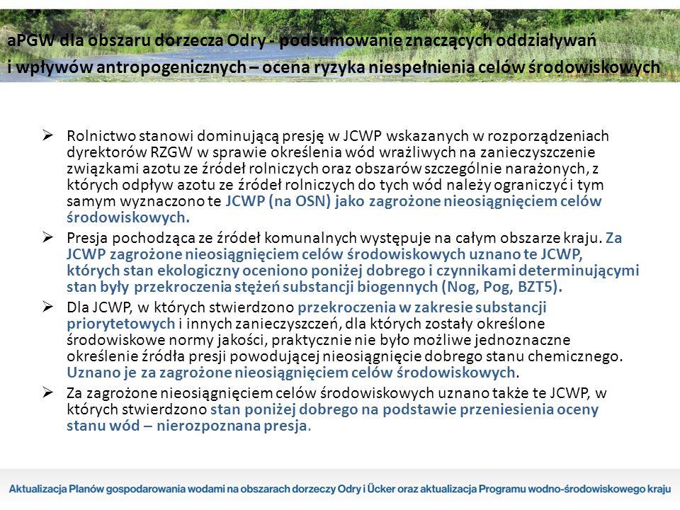 Rolnictwo stanowi dominującą presję w JCWP wskazanych w rozporządzeniach dyrektorów RZGW w sprawie określenia wód wrażliwych na zanieczyszczenie związkami azotu ze źródeł rolniczych oraz obszarów szczególnie narażonych, z których odpływ azotu ze źródeł rolniczych do tych wód należy ograniczyć i tym samym wyznaczono te JCWP (na OSN) jako zagrożone nieosiągnięciem celów środowiskowych.