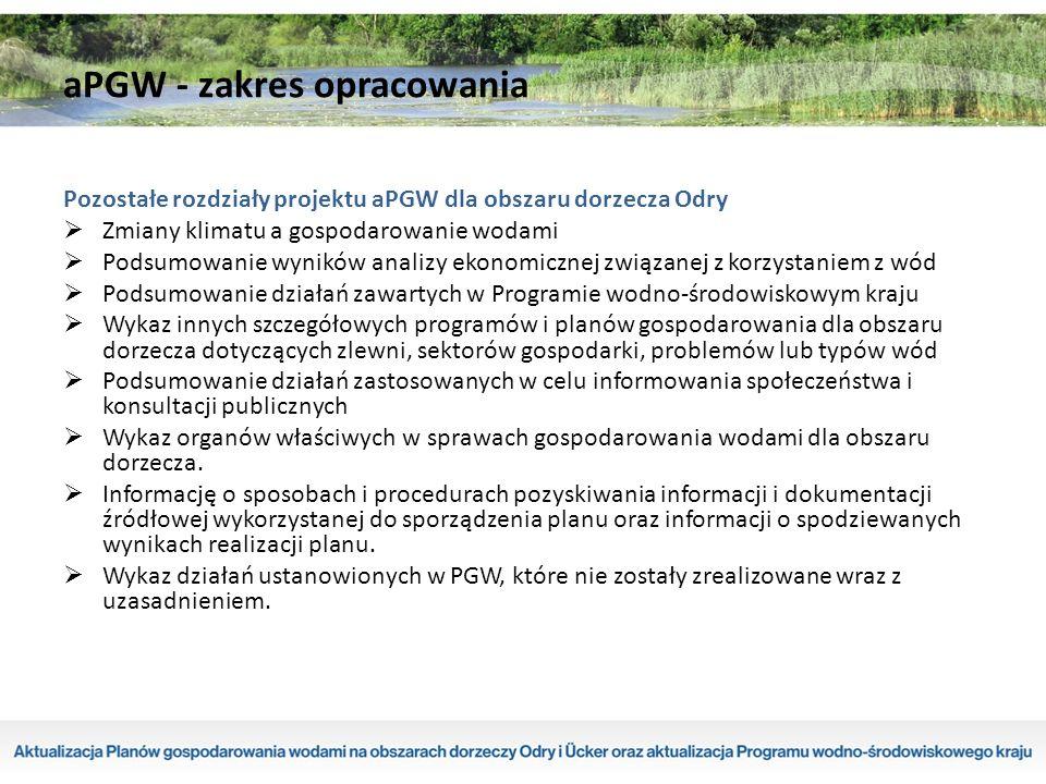 Podstawy opracowania aPGW - uwarunkowania prawne  Gospodarowanie wodami w Polsce odbywa się na podstawie wspólnej polityki wodnej Unii Europejskiej, zawartej w uchwalonej 23 października 2000 roku Ramowej Dyrektywie Wodnej 2000/60/WE (RDW).