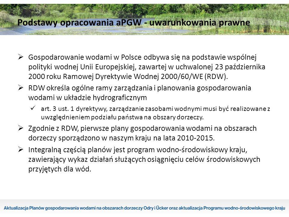  Obowiązek sporządzenia planów gospodarowania wodami na obszarach dorzeczy (PGW) wynika z art.