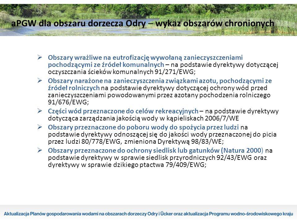  Obszary wrażliwe na eutrofizację wywołaną zanieczyszczeniami pochodzącymi ze źródeł komunalnych – na podstawie dyrektywy dotyczącej oczyszczania ścieków komunalnych 91/271/EWG;  Obszary narażone na zanieczyszczenia związkami azotu, pochodzącymi ze źródeł rolniczych na podstawie dyrektywy dotyczącej ochrony wód przed zanieczyszczeniami powodowanymi przez azotany pochodzenia rolniczego 91/676/EWG;  Części wód przeznaczone do celów rekreacyjnych – na podstawie dyrektywy dotycząca zarządzania jakością wody w kąpieliskach 2006/7/WE  Obszary przeznaczone do poboru wody do spożycia przez ludzi na podstawie dyrektywy odnoszącej się do jakości wody przeznaczonej do picia przez ludzi 80/778/EWG, zmieniona Dyrektywą 98/83/WE;  Obszary przeznaczone do ochrony siedlisk lub gatunków (Natura 2000) na podstawie dyrektywy w sprawie siedlisk przyrodniczych 92/43/EWG oraz dyrektywy w sprawie dzikiego ptactwa 79/409/EWG; aPGW dla obszaru dorzecza Odry – wykaz obszarów chronionych