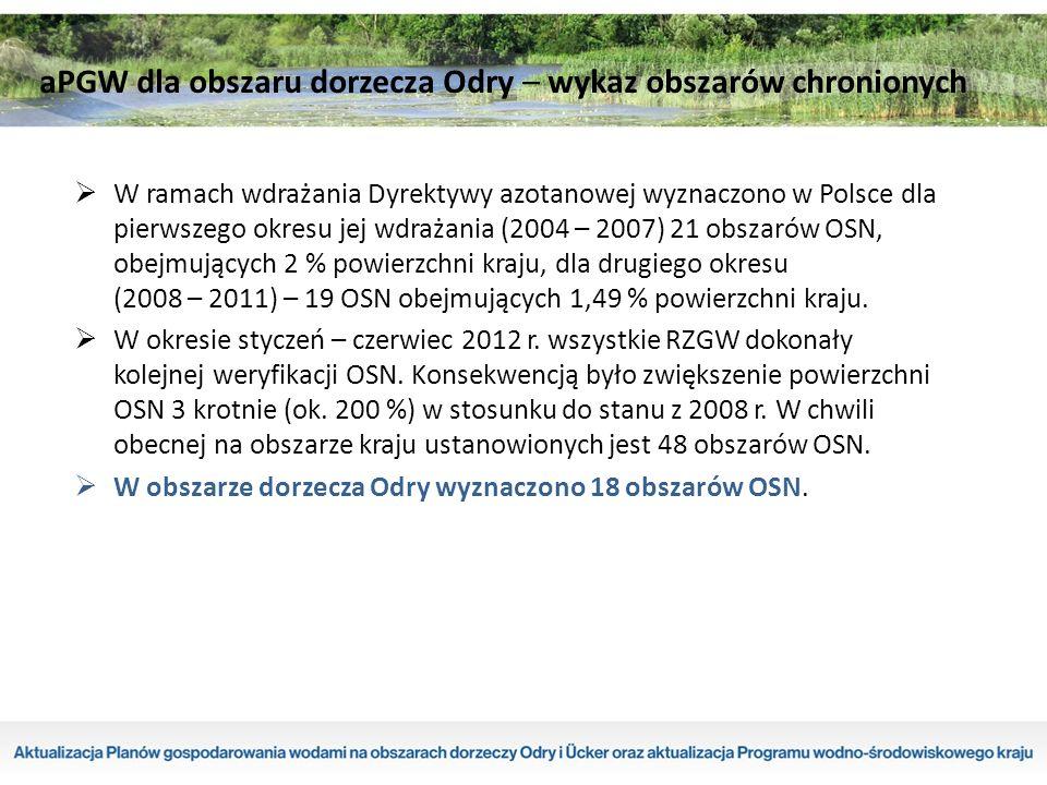  W ramach wdrażania Dyrektywy azotanowej wyznaczono w Polsce dla pierwszego okresu jej wdrażania (2004 – 2007) 21 obszarów OSN, obejmujących 2 % powierzchni kraju, dla drugiego okresu (2008 – 2011) – 19 OSN obejmujących 1,49 % powierzchni kraju.