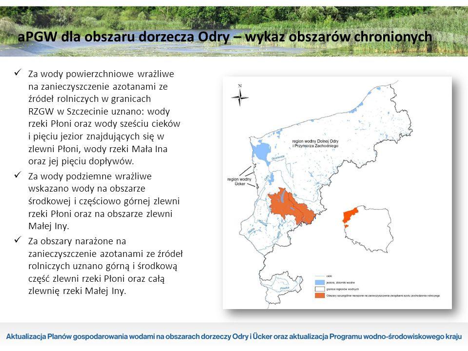 Za wody powierzchniowe wrażliwe na zanieczyszczenie azotanami ze źródeł rolniczych w granicach RZGW w Szczecinie uznano: wody rzeki Płoni oraz wody sześciu cieków i pięciu jezior znajdujących się w zlewni Płoni, wody rzeki Mała Ina oraz jej pięciu dopływów.
