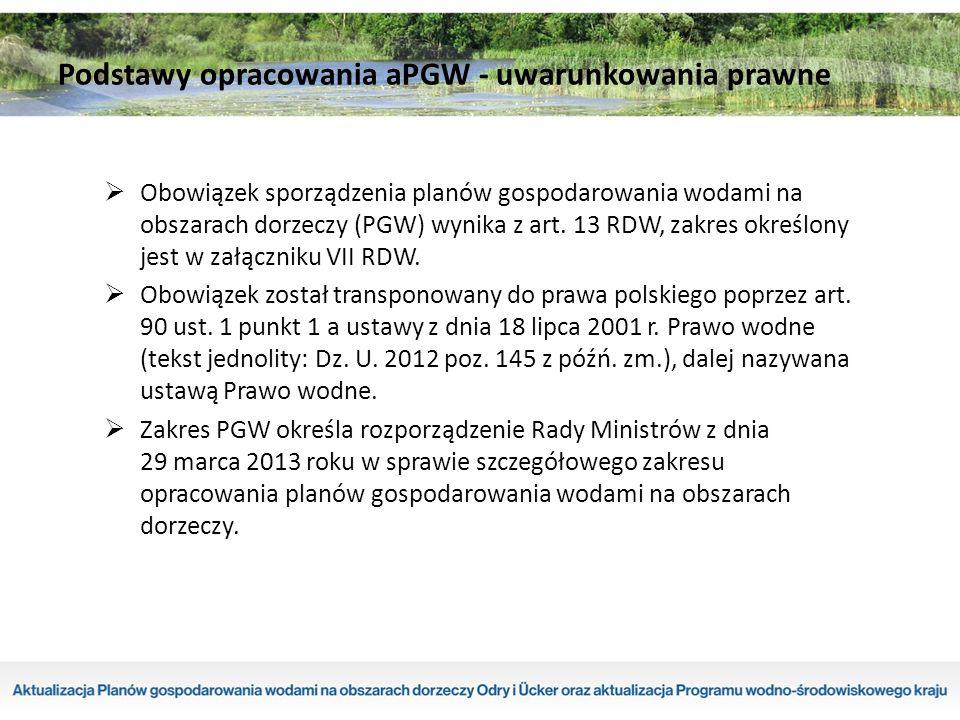 Obszar działania RZGW w Szczecinie Region wodny Dolnej Odry i Przymorza Zachodniego: – 329 JCWP rzecznych, – 112 JCWP jeziornych, – 4 JCWP przejściowych, – 4 JCWP przybrzeżnych, – 13 JCWPd.