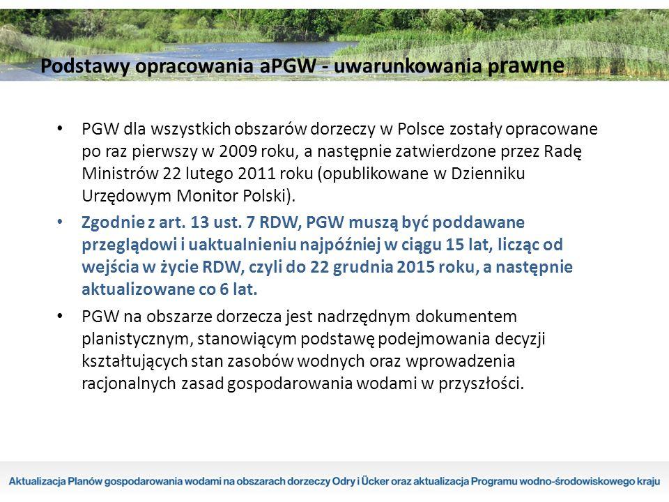 PGW dla wszystkich obszarów dorzeczy w Polsce zostały opracowane po raz pierwszy w 2009 roku, a następnie zatwierdzone przez Radę Ministrów 22 lutego 2011 roku (opublikowane w Dzienniku Urzędowym Monitor Polski).