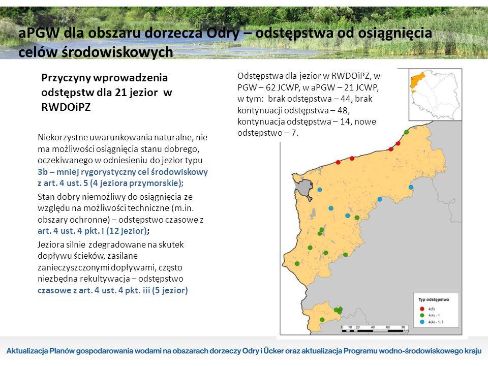 Przyczyny wprowadzenia odstępstw dla 21 jezior w RWDOiPZ Niekorzystne uwarunkowania naturalne, nie ma możliwości osiągnięcia stanu dobrego, oczekiwanego w odniesieniu do jezior typu 3b – mniej rygorystyczny cel środowiskowy z art.