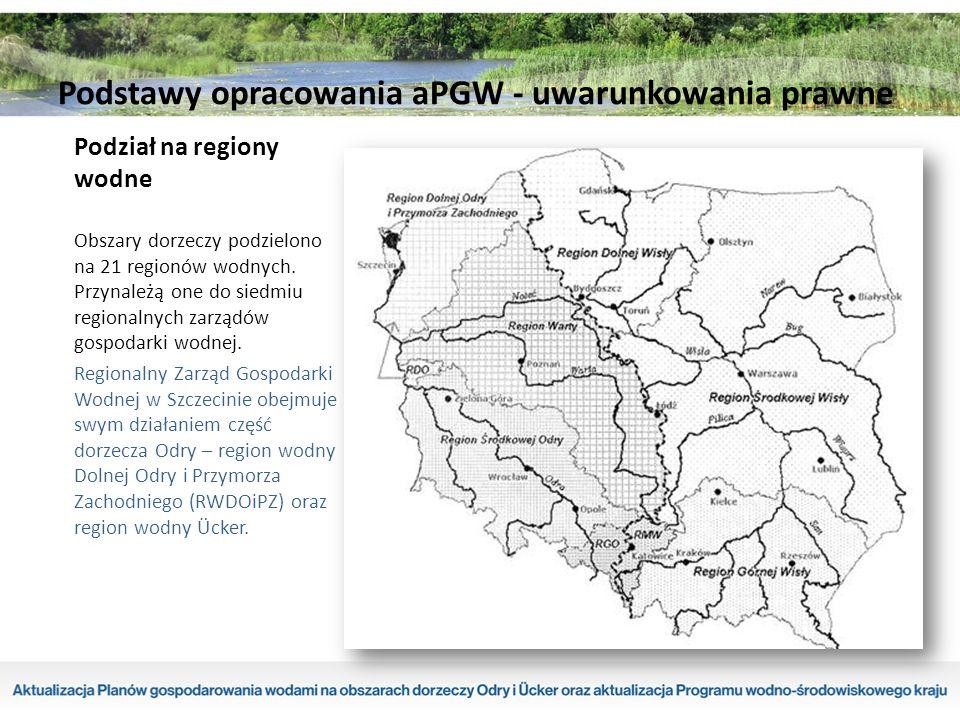 Podział na regiony wodne Obszary dorzeczy podzielono na 21 regionów wodnych.
