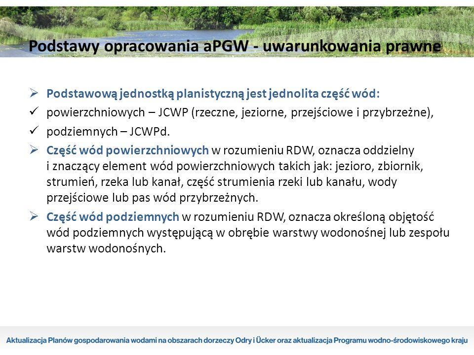 Podstawową jednostką planistyczną jest jednolita część wód: powierzchniowych – JCWP (rzeczne, jeziorne, przejściowe i przybrzeżne), podziemnych – JCWPd.