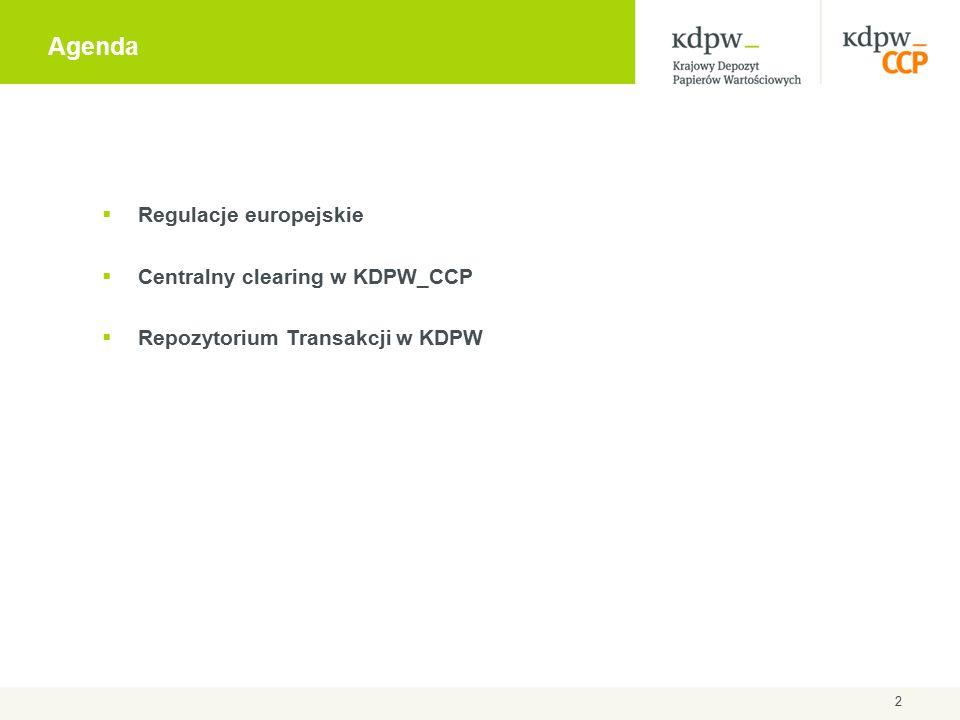 Agenda 2  Regulacje europejskie  Centralny clearing w KDPW_CCP  Repozytorium Transakcji w KDPW