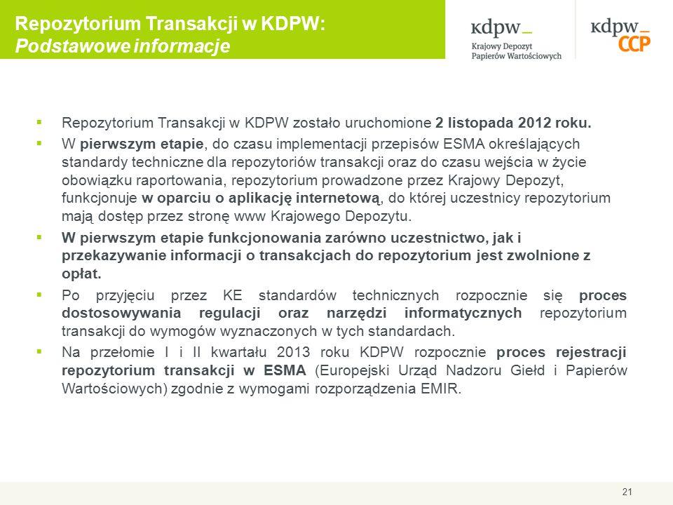 21 Repozytorium Transakcji w KDPW: Podstawowe informacje  Repozytorium Transakcji w KDPW zostało uruchomione 2 listopada 2012 roku.