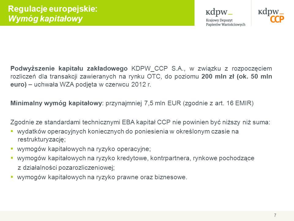Podwyższenie kapitału zakładowego KDPW_CCP S.A., w związku z rozpoczęciem rozliczeń dla transakcji zawieranych na rynku OTC, do poziomu 200 mln zł (ok.