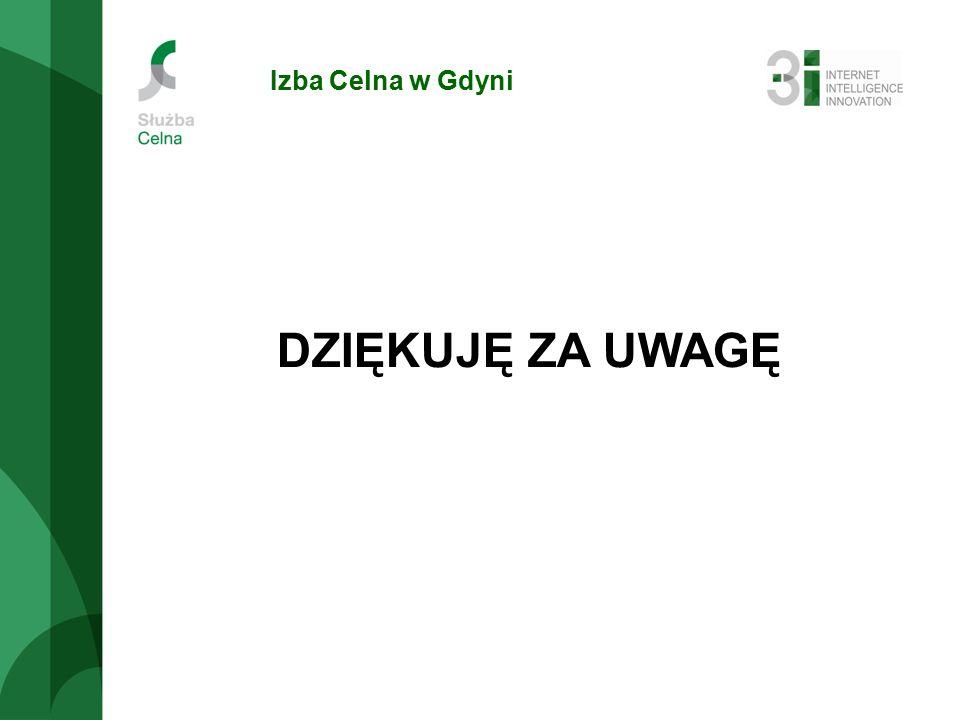 Izba Celna w Gdyni DZIĘKUJĘ ZA UWAGĘ