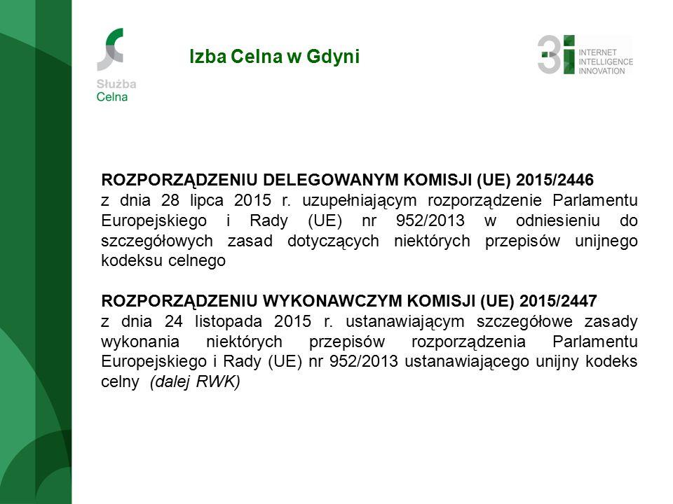 Izba Celna w Gdyni ROZPORZĄDZENIU DELEGOWANYM KOMISJI (UE) 2015/2446 z dnia 28 lipca 2015 r.