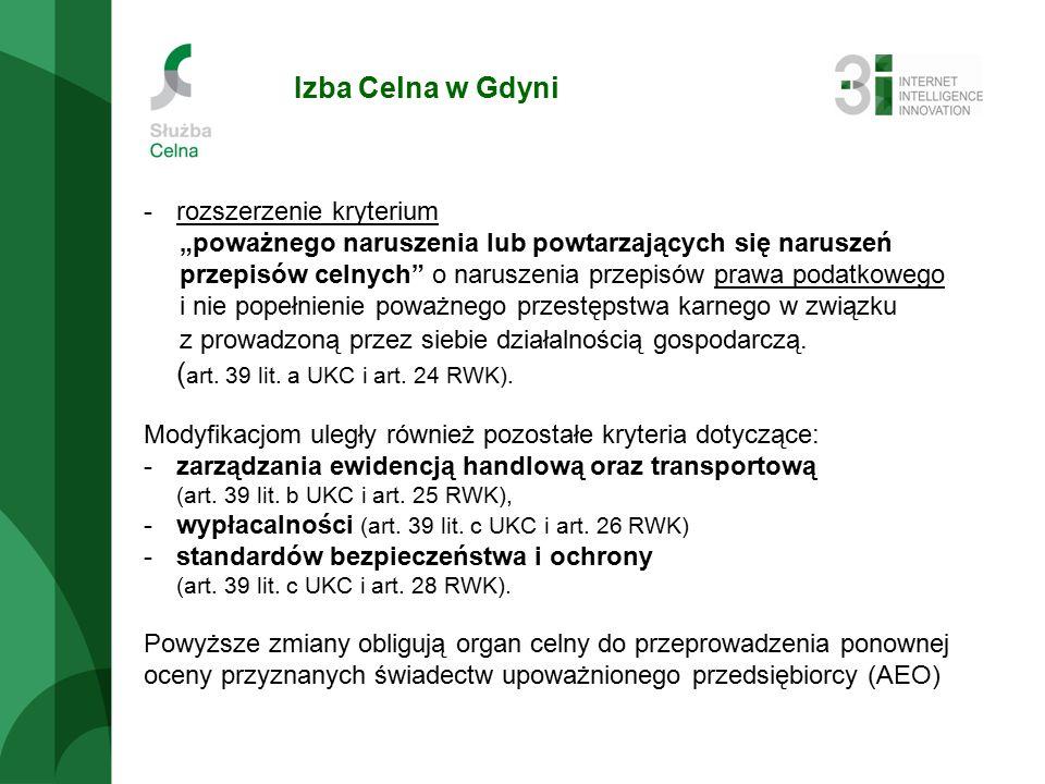 """Izba Celna w Gdyni -rozszerzenie kryterium """"poważnego naruszenia lub powtarzających się naruszeń przepisów celnych o naruszenia przepisów prawa podatkowego i nie popełnienie poważnego przestępstwa karnego w związku z prowadzoną przez siebie działalnością gospodarczą."""