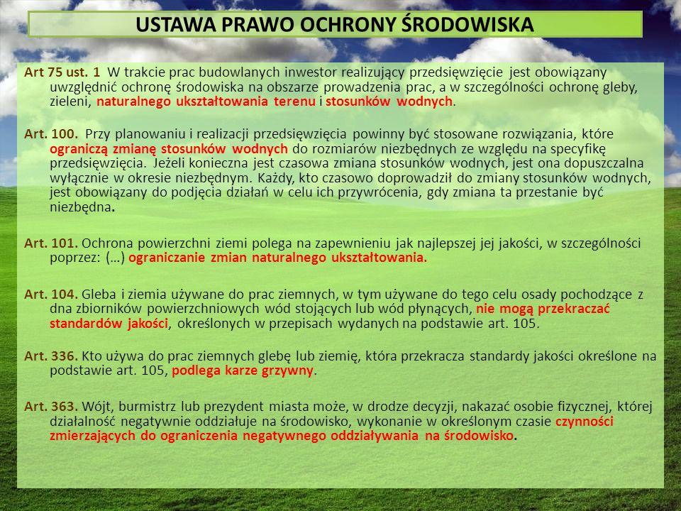 USTAWA PRAWO OCHRONY ŚRODOWISKA Art 75 ust.