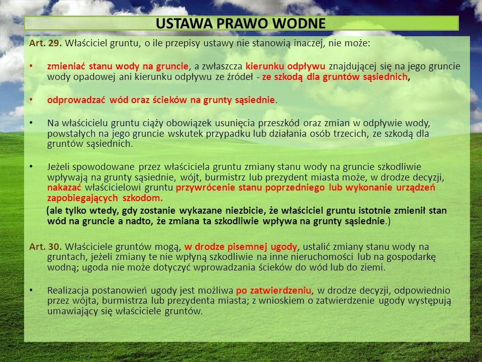 USTAWA PRAWO WODNE Art. 29.