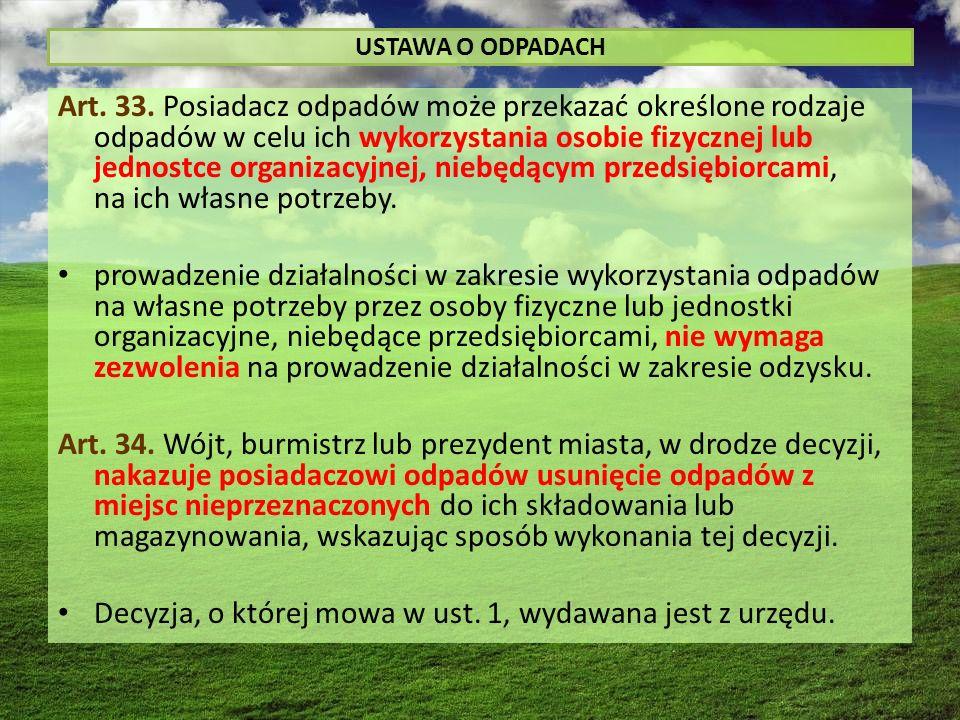 USTAWA O ODPADACH Art. 33.