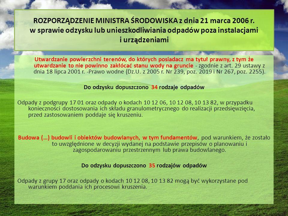 ROZPORZĄDZENIE MINISTRA ŚRODOWISKA z dnia 21 marca 2006 r.