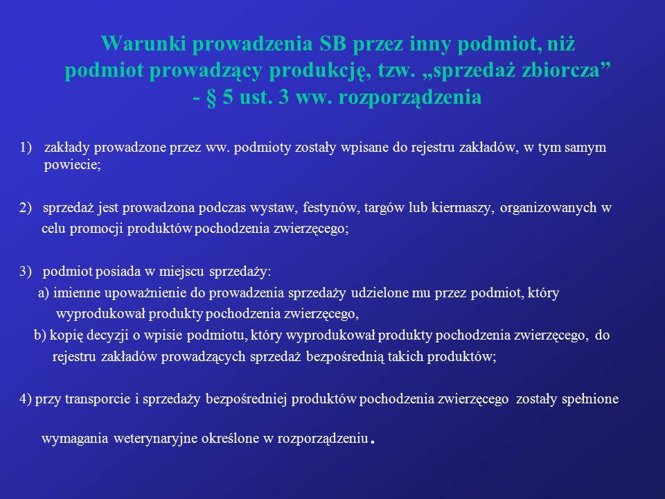 """Warunki prowadzenia SB przez inny podmiot, niż podmiot prowadzący produkcję, tzw. """"sprzedaż zbiorcza"""" - § 5 ust. 3 ww. rozporządzenia 1)zakłady prowad"""