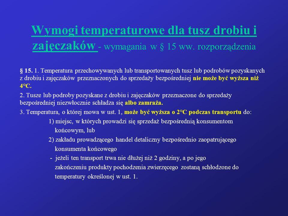 Wymogi temperaturowe dla tusz drobiu i zajęczaków - wymagania w § 15 ww. rozporządzenia § 15. 1. Temperatura przechowywanych lub transportowanych tusz