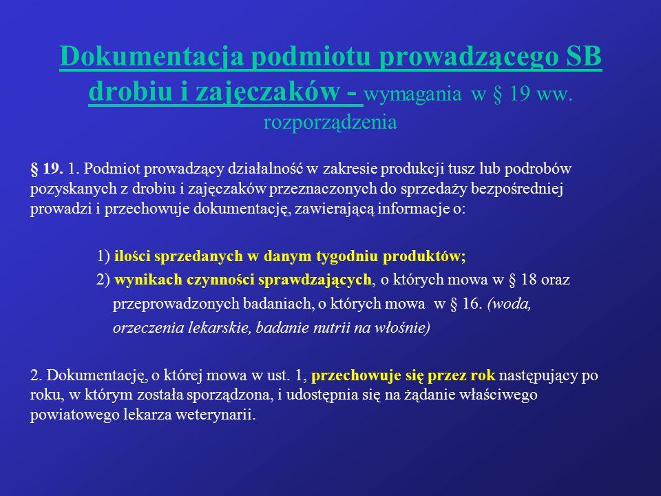 Dokumentacja podmiotu prowadzącego SB drobiu i zajęczaków - wymagania w § 19 ww. rozporządzenia § 19. 1. Podmiot prowadzący działalność w zakresie pro