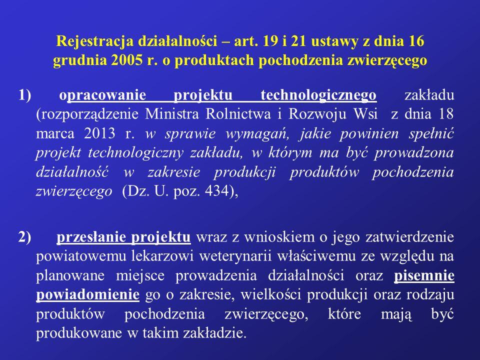 Rejestracja działalności – art. 19 i 21 ustawy z dnia 16 grudnia 2005 r. o produktach pochodzenia zwierzęcego 1) opracowanie projektu technologicznego