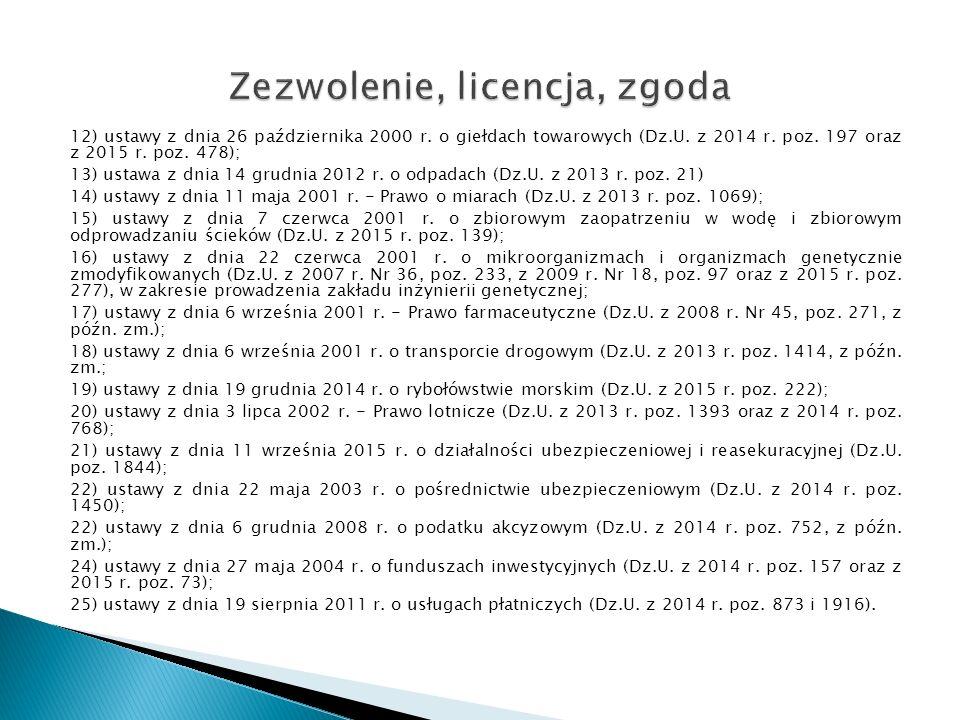 12) ustawy z dnia 26 października 2000 r.o giełdach towarowych (Dz.U.