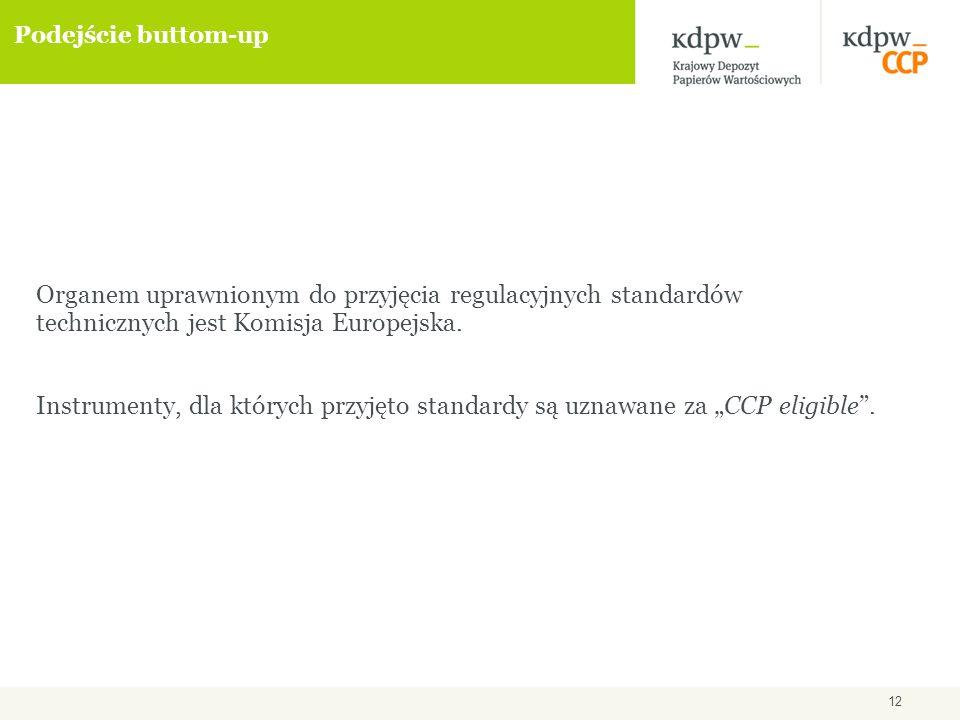 12 Podejście buttom-up Organem uprawnionym do przyjęcia regulacyjnych standardów technicznych jest Komisja Europejska.
