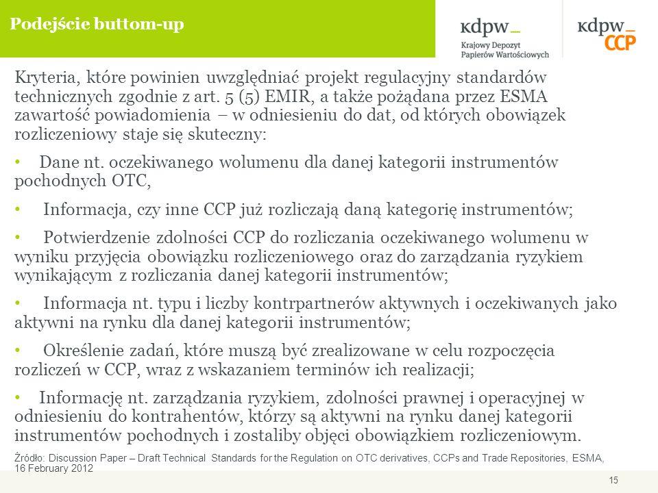 15 Podejście buttom-up Kryteria, które powinien uwzględniać projekt regulacyjny standardów technicznych zgodnie z art.