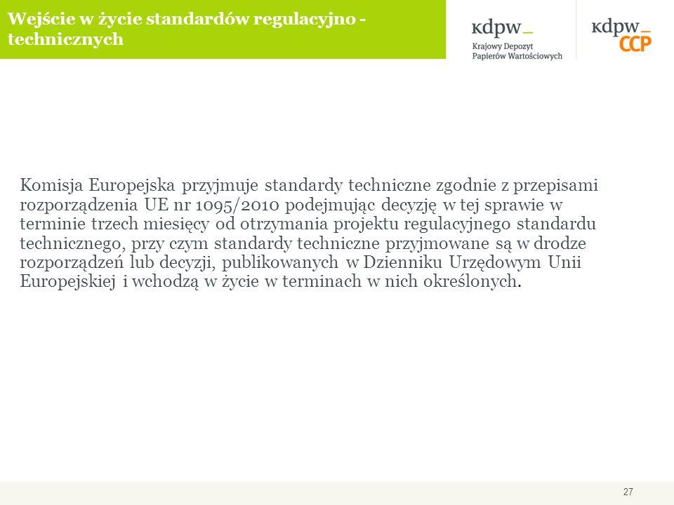 27 Wejście w życie standardów regulacyjno - technicznych Komisja Europejska przyjmuje standardy techniczne zgodnie z przepisami rozporządzenia UE nr 1095/2010 podejmując decyzję w tej sprawie w terminie trzech miesięcy od otrzymania projektu regulacyjnego standardu technicznego, przy czym standardy techniczne przyjmowane są w drodze rozporządzeń lub decyzji, publikowanych w Dzienniku Urzędowym Unii Europejskiej i wchodzą w życie w terminach w nich określonych.