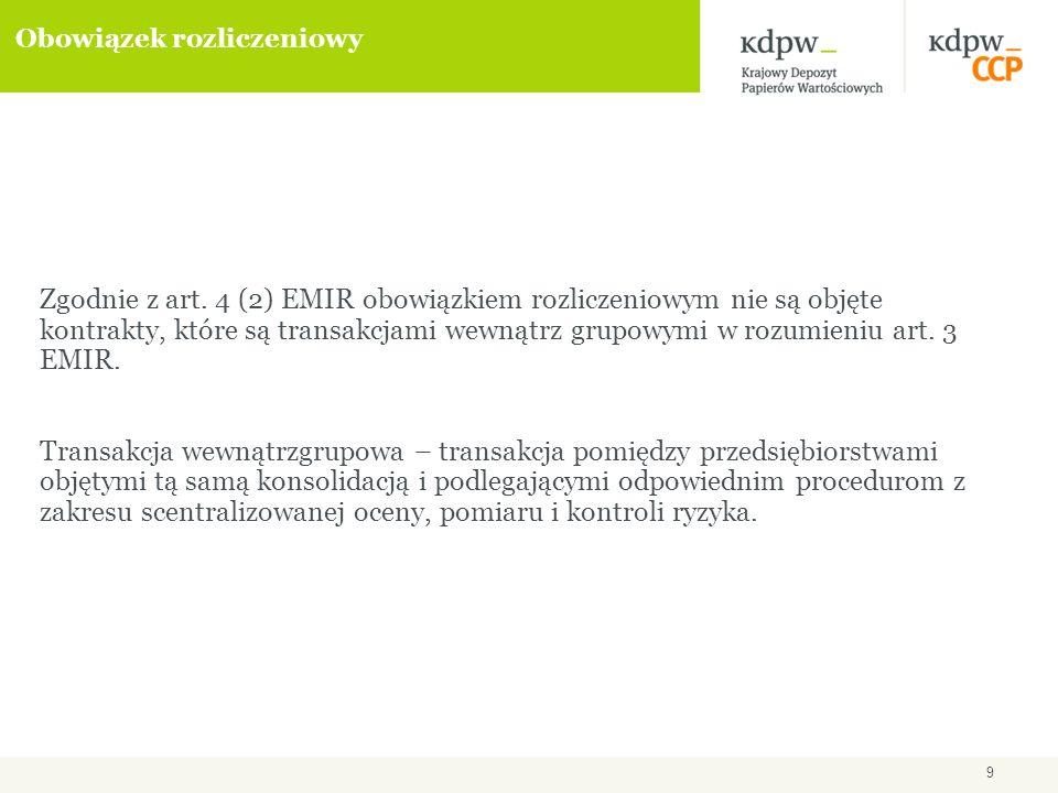 10 Procedura obowiązku rozliczeniowego EMIR przewiduje dwa uzupełniające się sposoby podejścia w identyfikacji przez ESMA i Komisję Europejską kategorii instrumentów pochodnych podlegających obowiązkowi rozliczania w CCP: podejście oddolne (buttom-up) – działania inicjowane w przez lokalny organ nadzoru w związku z autoryzacją CCP (art.