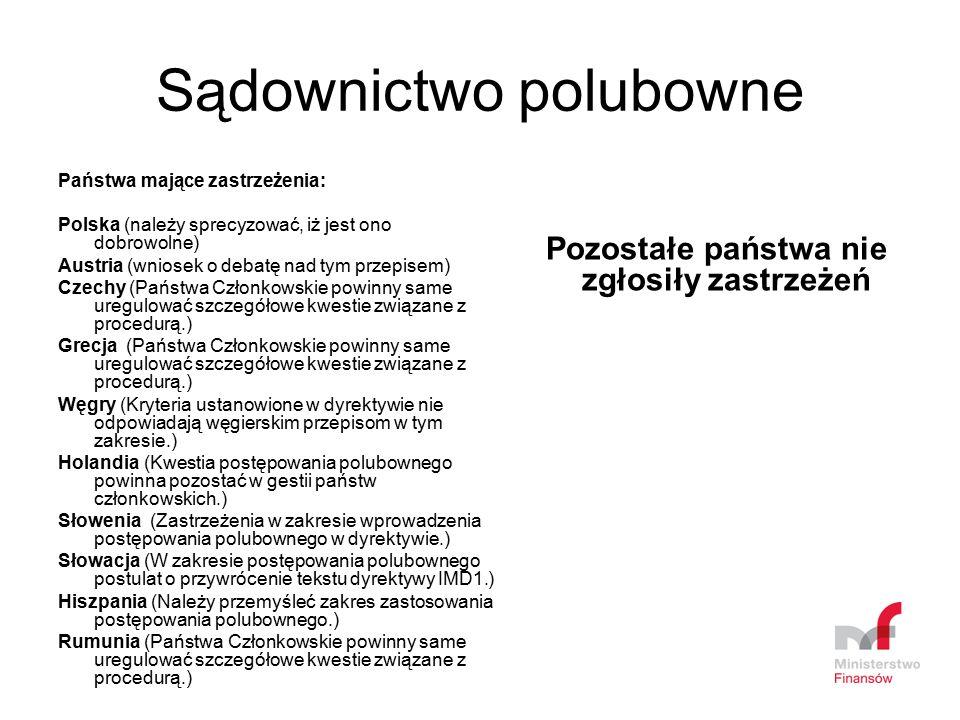 Sądownictwo polubowne Państwa mające zastrzeżenia: Polska (należy sprecyzować, iż jest ono dobrowolne) Austria (wniosek o debatę nad tym przepisem) Cz